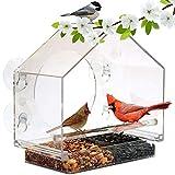 XuBa - Comedero para pájaros de acrílico Transparente con ventosas, Jaula para árbol y jardín