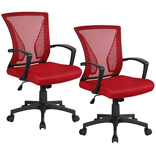 Yaheetech 2x Bürostuhl Drehstuhl Schreibtischstühle mit Netzrücken Ergonomischer Design Chefsessel Höhenverstellung und Wippfunktion