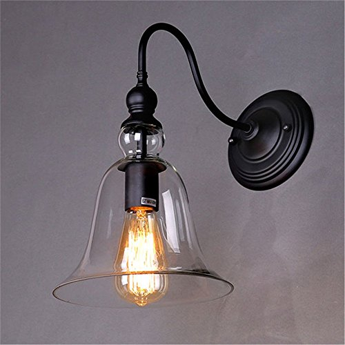 Weare Home Lampe Murale Design Cloche en Verre Diamètre 21cm Rétro Industriel 110-220V(ampoule non inclu) Applique Murale Corridor Lèche-mur