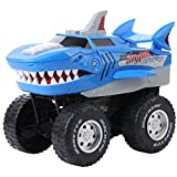Powerful Shark Chomper Monster Truck- Battery Powered Shark Car Lights Up with Revving Engine Sounds and Pops Wheelies - Great Gift for Boys and Girls Ages 3+