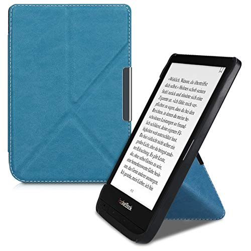 kwmobile Origami Case Compatible with Pocketbook Touch Lux 4/Lux 5/Touch HD 3/Color (2020) - Ultra Slim Fit PU Leather Cover with Stand - Petrol