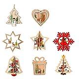 8 Piezas Colgante Navideño de Madera DIY Madera Colgante Adornos para Árbol de Navidad y Decoración de Fiesta (Color Madera)