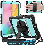 Timecity Galaxy Tab A 10.1 Case,ONLY FIT (SM-T510/T515/t517) 2019, Full-Body Drop Proof Case with Rotating Hand Strap Stand Screen Protector Pencil Holder for Tab A 10.1-SkyBlue+Black