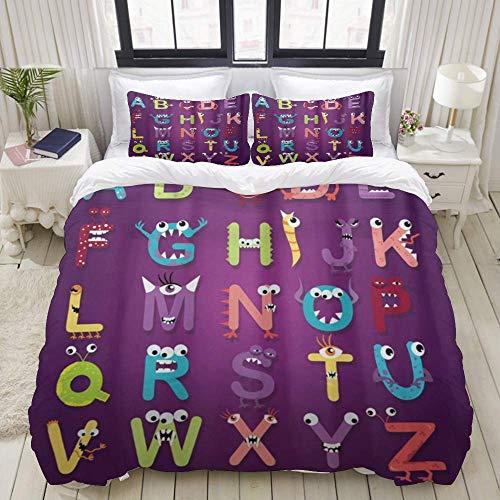 Juego de funda nórdica de 3 piezas de fácil cuidado y 2 fundas de almohada, letras del alfabeto educativo para niños, decoración de monstruos de colores ABC, elegante funda de edredón de microfibra de