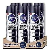 NIVEA MEN Black & White Invisible Original Spray en pack de 6 (6 x 200 ml), desodorante antimanchas...