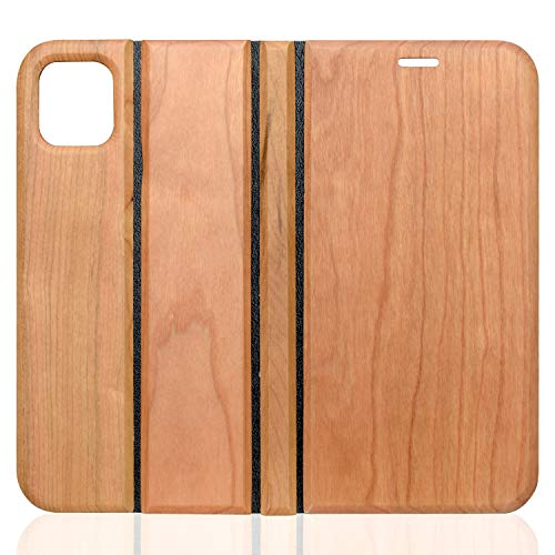 【期間限定セール価格】wooday tokyo iPhone11 木製 ウッド 手帳型 ケース サイドマグネット式 カード収納 スタンド機能 全面保護 人気 おしゃれ プレゼント ギフト (11, チェリーウッド)