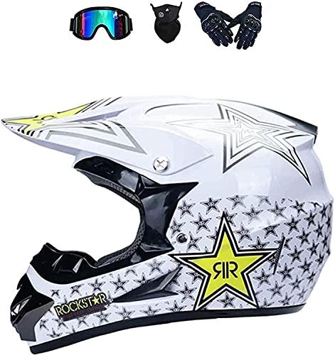 Juegos de cascos de motocross para niños, casco de moto cruzado de cara completa con gafas, guantes, máscaras, para adultos, equipo de protección para casco choque de motocicleta todoterreno