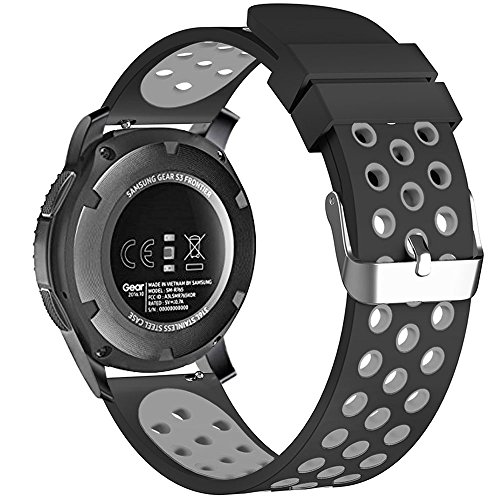 22mm Smart Watch Bands, FanTEK Silicone Sport Quick Release Strap for Samsung Galaxy Watch 3 45mm / Galaxy Watch 46mm / Gear S3 Frontier & Classic / Pebble Time Steel / Moto 360 for Men 2nd Gen 46mm