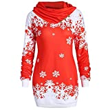 Women Fashion Tops Merry Christmas Scarf Collar Pullover Xmas Snowflake Printed Sweatshirt Cowl Neck Long Sleeve Blouse Red