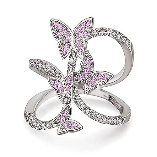 Anillo de mariposa Alas de circonio Anillos rosados para mujeres Anillos Mujer Anillo de joyería Regalos 7 PlatinumPlated