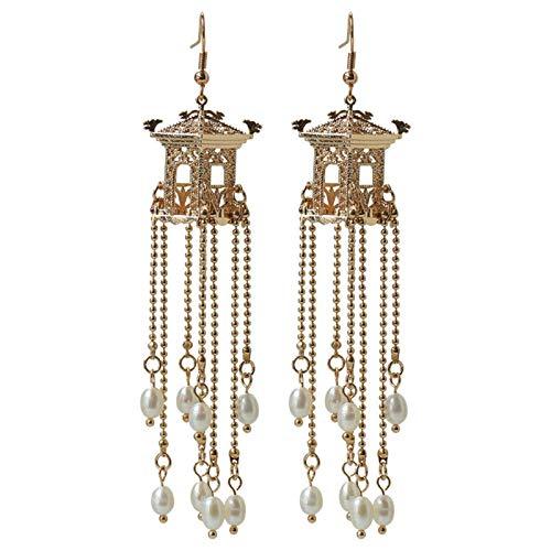 EHDFS Pendientes vintage de perlas antiguas pabellón pendientes borla pendientes