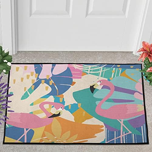 Veryday Felpudo con diseño de flamenco, para la puerta, para la ducha, color blanco, 40 x 60 cm