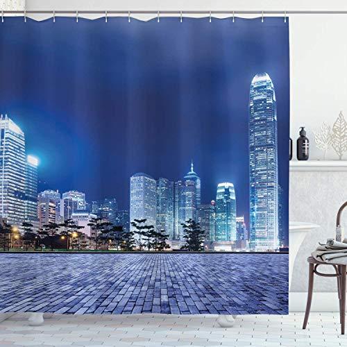 SanJIUCOM 66x72inch Urban Duschvorhang, Hong Kong Skyline Architectural Cityscape Wolkenkratzer Foto, Stoff Stoff Bad Set mit Haken, Purplegrey Blue
