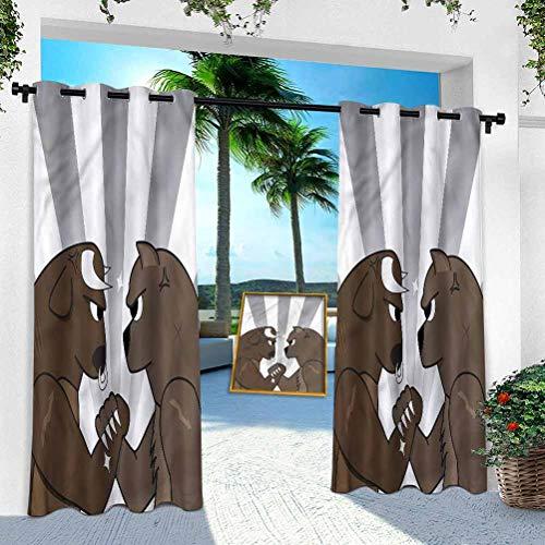 Aishare Store - Cortina para patio al aire libre, dibujos animados, diseño de oso de toro, 108 pulgadas de largo, resistente panel de interior para porche, balcón pérgola, toldo para carpa (1 panel)