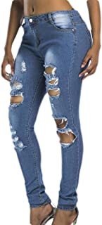 Women Skinny Jeans Destroyed and Ripped Stretch Denim Pants