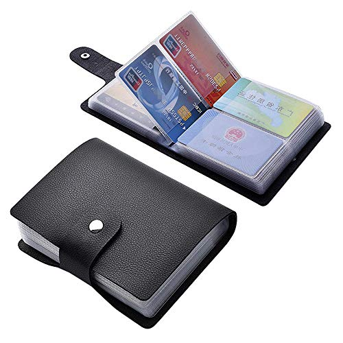Angimi Leather Credit Card Holder Business Card Organizer with 60 Card Slots for Storing and Preventing Credit Card or Business Card Loss Black