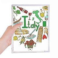 イタリア愛の心の風景の国旗 硬質プラスチックルーズリーフノートノート
