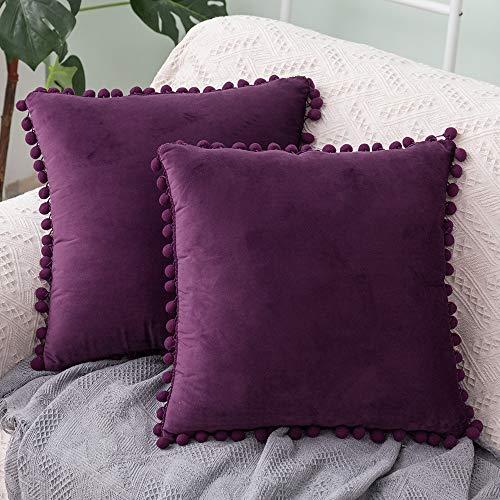 LOLEY Velvet Cushion Covers 2 Pack 18x18 Inch (45cmx45cm) Soft Square Decorative Throw Pillowcases for Livingroom Sofa Bedroom (Purple)