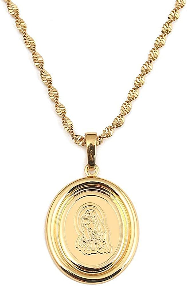 Lucky Gold Color Virgin Pendant Necklace Women Christianity Chain Jewelry 50cm