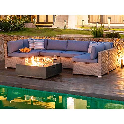 COSIEST 8 Piece Outdoor Wicker Fire Table Set