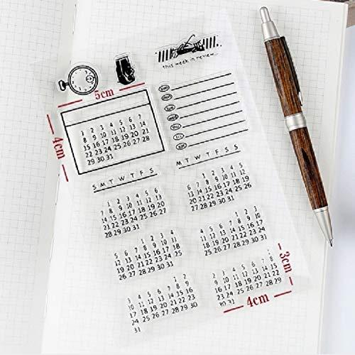 for Office&School Kalender Wr 2 PCS Zeit transparenten Silikon Stempel, Kinder DIY Handgefertigte Scrapbook Fotoalbum Dekor Werkzeuge