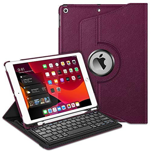Fintie Keyboard Case for iPad 7th Generation 10.2' 2019-360 Degree Rotating Smart Stand Cover w/Pencil Holder, Built-in Wireless Bluetooth Keyboard for iPad 10.2' Tablet, Purple