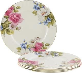 Gracie Bone China 7-1/2-Inch Dessert Plate, Pink Grace's Rose, Set of 4