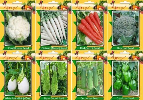 Pinkdose Chou-fleur, Radis, rouge carotte, brocoli, concombre, vert Capsicum, rond blanc Brinjal et amer Légumes Gourd Graines