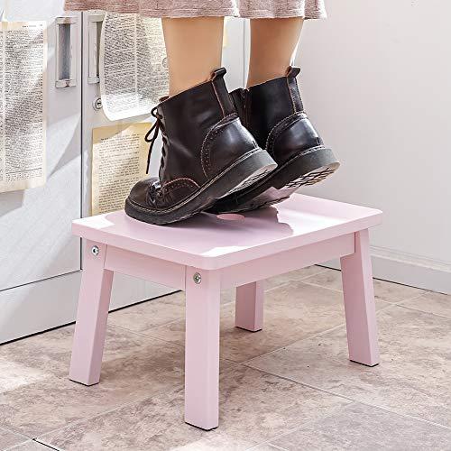 HOUCHICS 木製踏み台 耐荷重100kg おしゃれ 滑り止め スツール 手洗い 歯磨き キッチン サポート お手伝い 大人も使える フラワースタンド (ピンク)