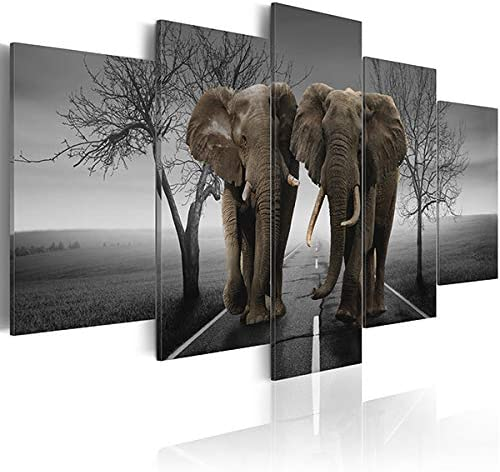 Black and White Elephant Paintings on Canvas African Animal Wall Art Desert Landscape Prints product image