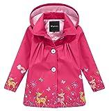 Wantdo Girl's and Boy's Hooded Rain Jacket Windproof Fleece Raincoat(Rose Red, 7-8Y)