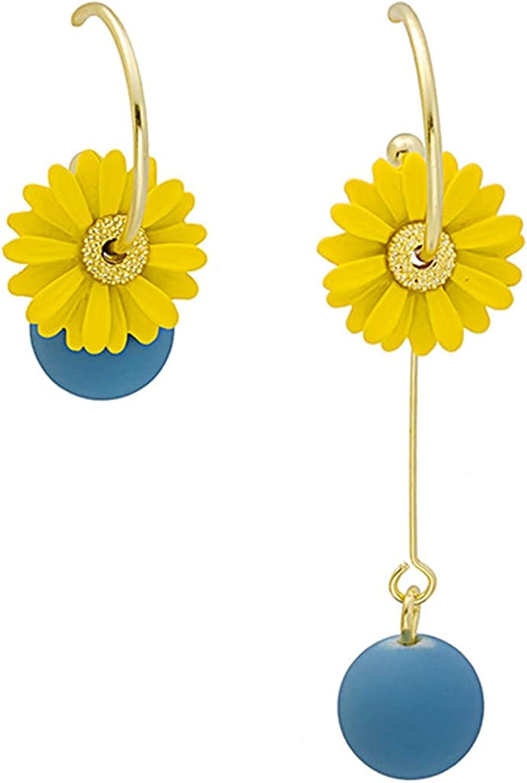 YUNXI Asymmetric Flower Daisy Earring Unique Metal Cute Sun Flower Pendant Long Thread Tassel Dissymmetric Resin Ball Dangle Earrings
