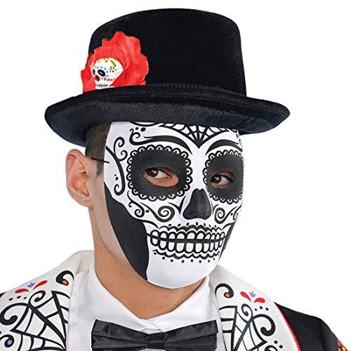 NET TOYS Mexikanische Totenmaske für Erwachsene - Weiß-Schwarz - Außergewöhnliche Herren-Kostüm-Zubehör Dia de los Muertos - Genau richtig für Halloween & Horror-Party