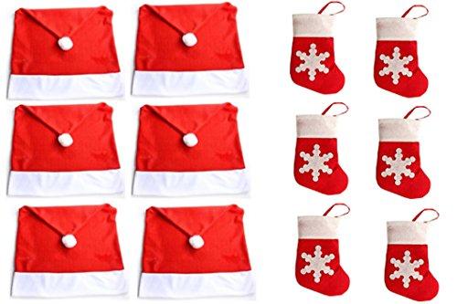 HONGCI 12 Pcs Party Weihnachtsdeko Set - 6X Stuhlhussen + 6 Besteckhalter - für Haus Restaurant Hotel Hochzeit Party (Sock) Box Cover (Set 3)