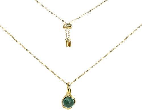 QWQ69 925 Sterling silberfarbene perlenkette schlüsselfertige schlüsselbeinkette,Grün
