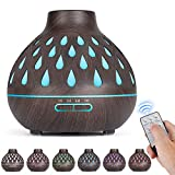 Essential Oil Diffuser (500ml), Remote Control, Ultrasonic Humidifier, Aromatherapy Diffusers with LED Lights & Waterless Auto-Off, for Bedroom/Office/Yoga Room (Dark Brown)