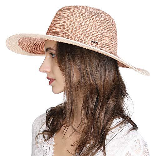 Comhats Sombrero de paja grande para mujer, con visera ancha, UPF 50, para playa, verano, vacaciones, Accessroies Panamá, Fedora, 55-57 cm, color rojo
