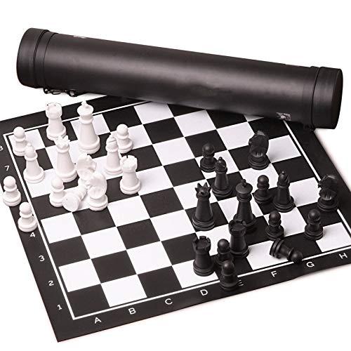 chaonong Schach Schwarz-Weiß-Schachfiguren Erwachsene Lederschachbrett Kind Studenten Western Schach Herren Geschenk