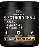 Electrolyte Powder Recovery Drink (90 Servings | Peach Mango) w Real Salt +BCAAs +B-Vitamins Sugar Free Electrolyte Supplement w Potassium Zinc & Magnesium for Hydration - Keto Electrolytes