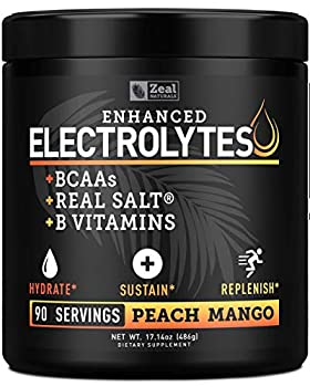 Electrolyte Powder Recovery Drink  90 Servings   Peach Mango  w Real Salt +BCAAs +B-Vitamins Sugar Free Electrolyte Supplement w Potassium Zinc & Magnesium for Hydration - Keto Electrolytes
