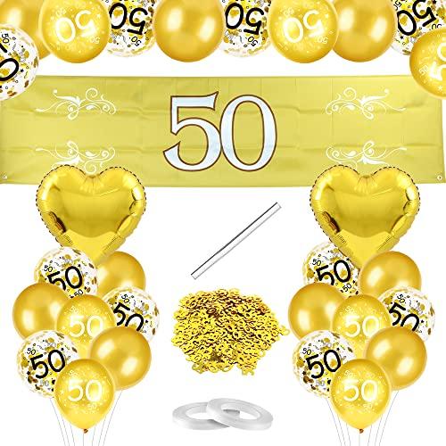 Bluelves Goldene Hochzeit Luftballon, Gold 50. Hochzeitstag Luftballons, 50 Ballons Hochzeit, 50 Gold Anniversary Banner, Goldene Hochzeit Deko, für Gold 50. Jubiläum Hochzeit Deko
