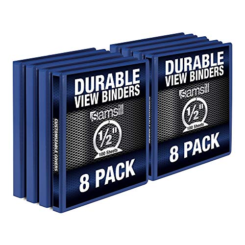 Samsill Durable .5 Inch Binder / Blue Round Ring Binder / Customizable Clear View Binder / Bulk Binder 8 Pack / Blue 3 Ring Binder / Half inch Binder