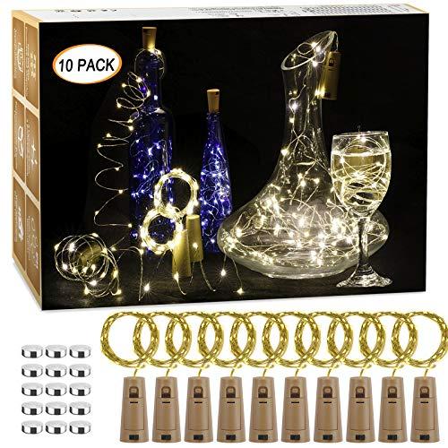 10 Stück LED Flaschenlicht, 20 LEDs 2M Lichterkette Kupferdraht batteriebetriebene Weinflasche Lichter mit Kork Schnurlicht für DIY Weihnachten Party Urlaub Stimmungslichter (Warmweiß)