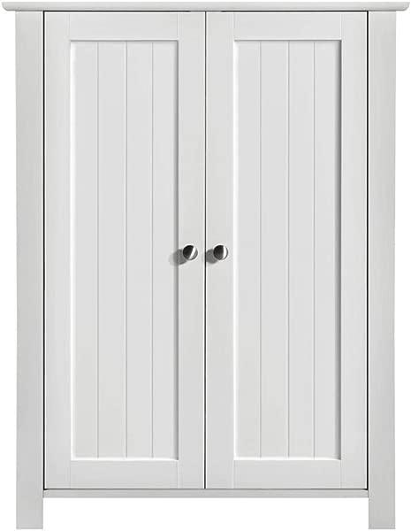Yaheetech Bathroom Floor Storage Cabinet Space Saver Organizer Double Door Adjustable Shelf 23 6x11 8x31 5 LxWxH