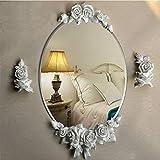 XIUXIU Mirror Garden Flower Wall Hanging 3D Embossed Decorative Mirror Nordic Waterproof Oval Resin Vanity Mirror (Color : White)