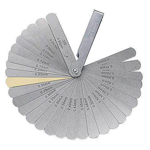 Volwco Fühlerlehren-Set, 32 Klingen, faltbar, Präzisionsmessgerät mit doppelter Markierung, metrisch/imperialer Lückenmessgerät zum Messen von Dicke, Lehren, (0,04-0,88 mm)