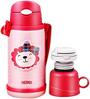 THERMOS 膳魔师 大容量儿童保温杯吸管杯+直饮杯 双壶盖 附背带杯套 粉色630ml(FFG-603WF PKN)