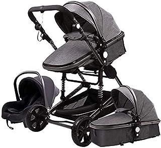 YQLWX Multifunktionell högvit barnvagn med säte, tvåvägs implementering, stor förvaringskorg, 3d stötdämpare, kompakt push...
