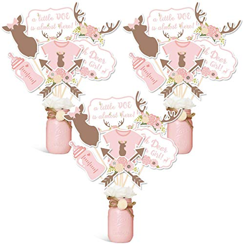 Oh Deer Party Centerpiece Sticks DIY Baby Girl Oh Deer Its A Girl Table Decorations Pink Little Doe Cutouts For Deer Theme Baby Shower Gender Reveal Party Supplies Set of 21