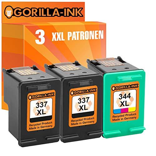 Gorilla-Ink 3X Patrone als Ersatz für HP 337XL HP 344XL Deskjet 5940 5950 6940 6980 6985 6988 Photosmart 2500 2570 2575 8000 8030 8049 8050 Officejet 100 150Mobile H470 ProK7100 | BK je 20ml
